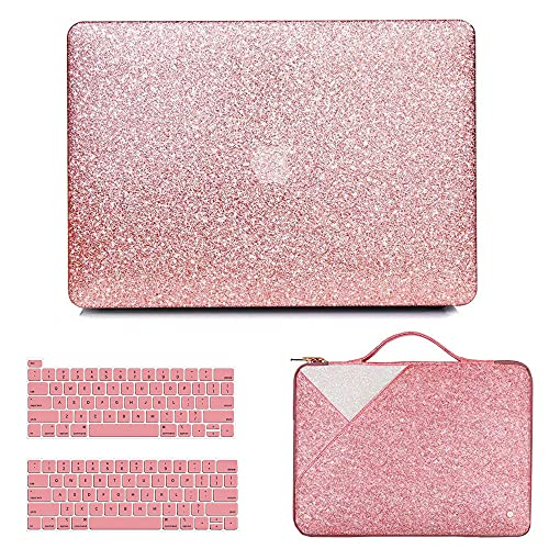 Anban Compatible with MacBook Pro 13 inch Case 2021 2020 2019 2018 2017 Release A2338 M1 A2251 A2289 A2159 A1989 A1706 A1708 Touch Bar, Glitter Protective Case & Glitter Laptop Sleeve & Keyboard Cover