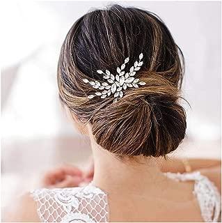 Olbye Wedding Hair Comb Crystal Bridal Hair Accessories Hair Comb for Wedding Head Piece (Silver)