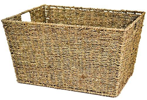 east2eden Seagrass Deep Kitchen Bathroom Storage Basket Box with Handle Holes