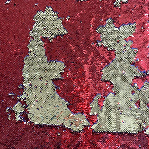 willikiva Sequin Reversible Sparkly Fabric Indoor Outdoor UpholsteryFabric Dress Clothing Making Home Decor 39.37'(100CM) x 51.18'(130CM) (Gold Red)