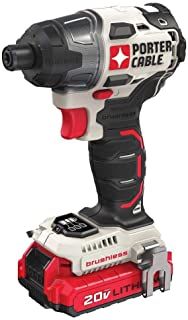 Porter-Cable PCCK647LBR 20V MAX Lithium-Ion Brushless 1/4 in. Impact Driver Kit (Renewed)