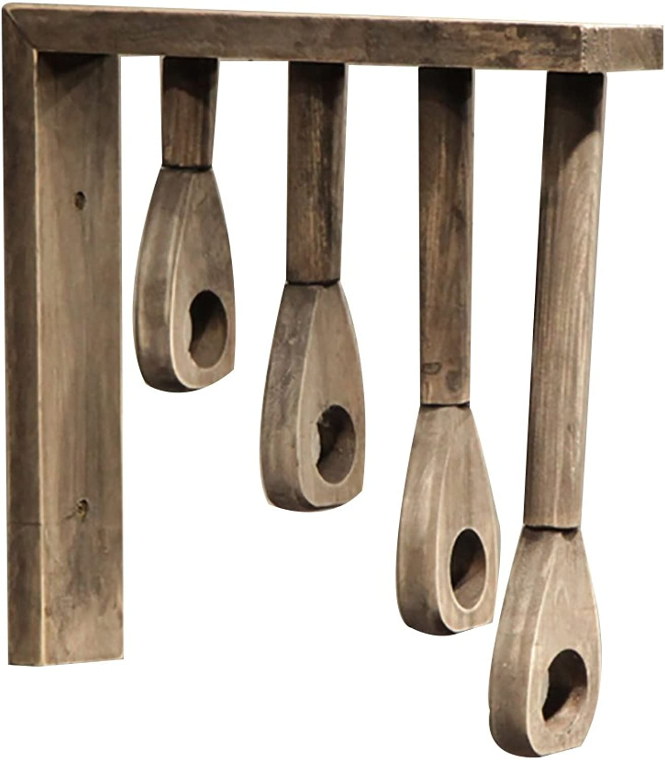 QIANGDA Coat Hat Rack Wall-Mounted Solid Wood with 4 Different Length Hanging rods, 30  30cm Optional