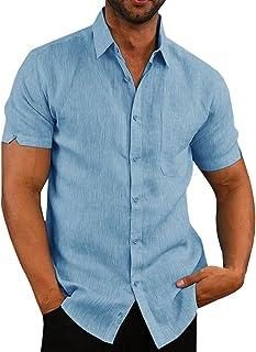 Pengfei Mens Short Sleeve Shirts Linen Cotton Button Down Fishing Tees Spread Collar Plain Summer Shirts