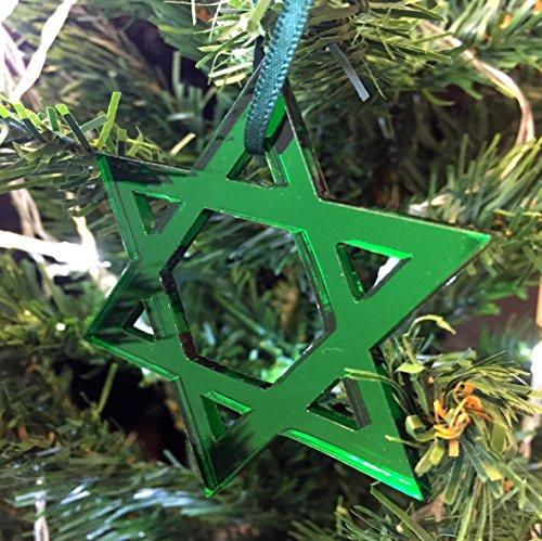 estrella de David Adornos Para Árbol De Navidad - Pack de 10 - Verde
