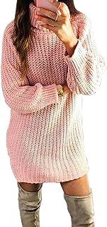 Otoño Invierno de Las señoras suéter Largo suéter de Cuello Alto de Color sólido suéter Delgado de la Manera Hizo Punto el...