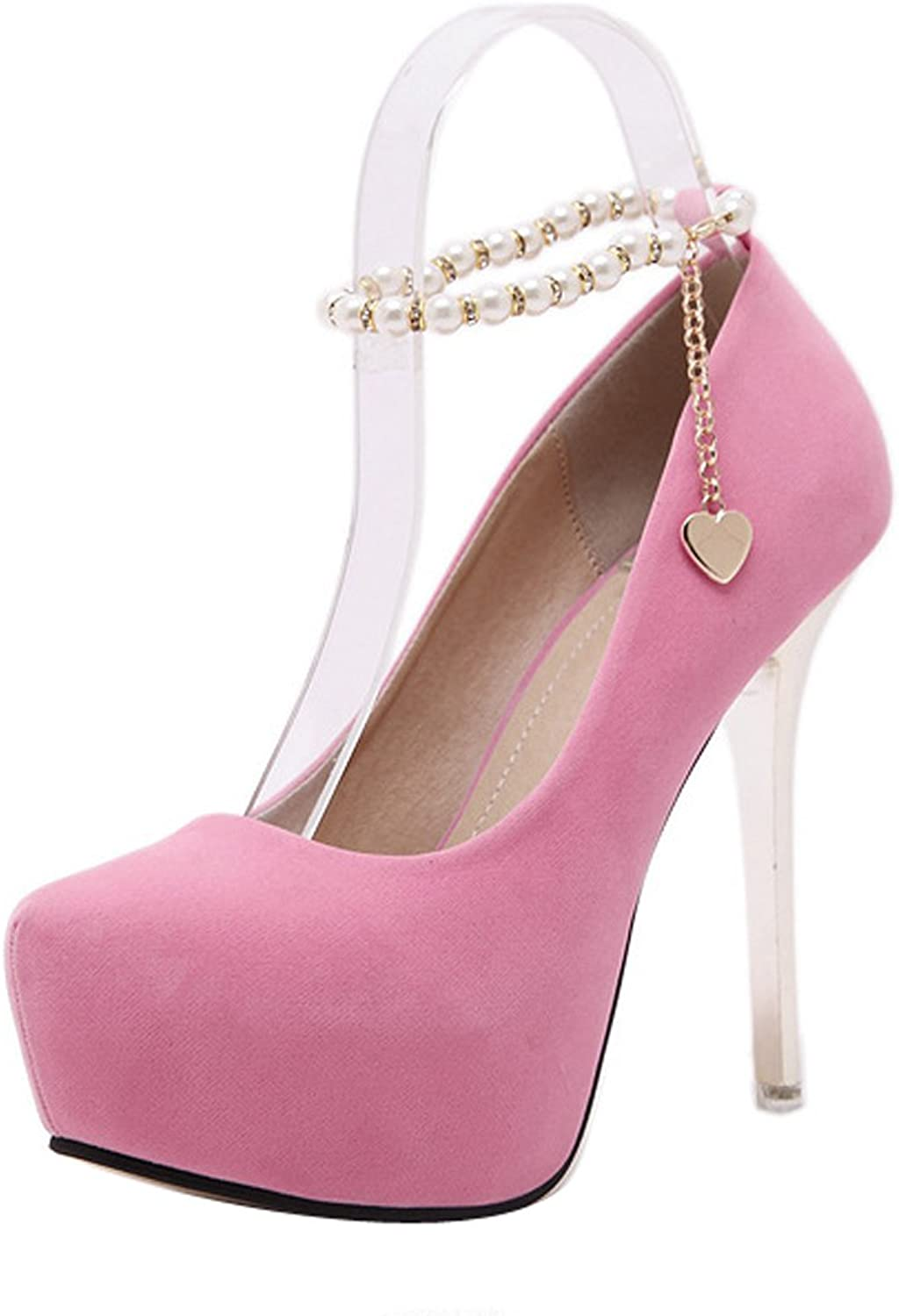 Ladola Womens Ankle Chain-Strap Closed-Toe Beaded Suede Pumps shoes