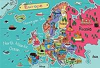 lfeey 10x 8ftヨーロッパマップバックドロップの写真Cartoon Drawing Kids Students地理教育Continent壁紙背景布ビニールフォトスタジオ小道具