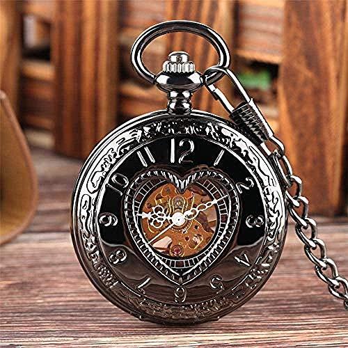 huangshuhua Reloj de Bolsillo Retro en Forma de corazón Negro Half Hunter Reloj de Bolsillo mecánico Steampunk 30cm Reloj de Bolsillo con Cadena con Colgante Regalo Hombres Mujeres Reloj