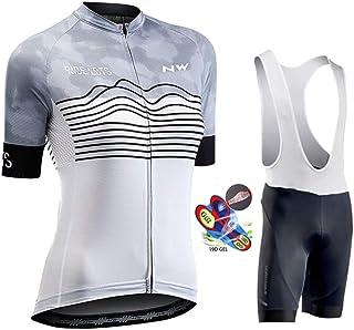Women's Cycling Jersey Biking Shirt Jacket Tops Short Sleeve Quick Dry Breathable Mountain Bib Shorts with 19D Gel Padded,B,5XL