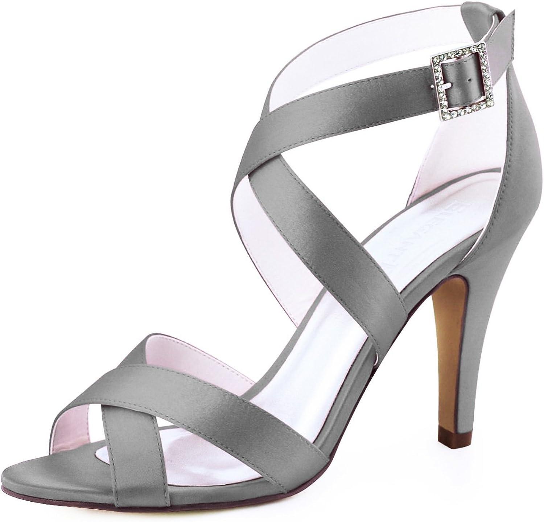 ElegantPark Women High Heel shoes Open Toe Cross Strap Satin Wedding Dress Sandals