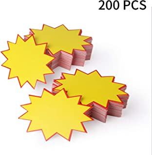 200Pcs Blank Star Retail Sale Signs Sales Price Label Tags for Real Estate and Garage Sales, Fundraising, Stores, Commerce by HRLORKC