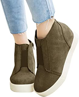 Womens Wedge Sneakers Platform Perforated Hidden Heel High Top Ankle Booties