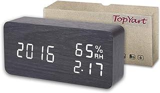 目覚まし時計 置き時計 デジタル 大きなLED数字表示 温度湿度計 カレンダー アラーム 振動/音感センサー 輝度調節 設定記憶 USB給電/電池 木製 おしゃれ 卓上 新築祝い 贈り物 (ブラック)
