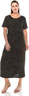 Women's Stretchy Long Dress Short Sleeve Print