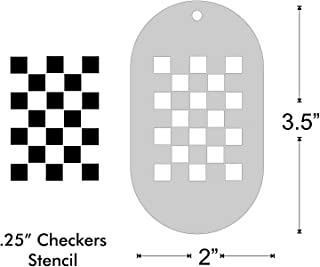 Stencil- Quarter Inch Checker, 2x1.4 Inch Image on 3.5x2 Border, Size 1