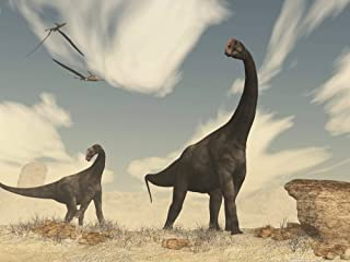 Posterazzi Two Brontomerus Dinosaurs Walking in The Desert. Poster Print by Elena Duvernay (16 x 12) Varies