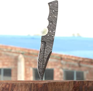Handmade Damascus Steel Hunting Knife Blank Blade Fire Storm Pattern 9.5 Inches VK2173