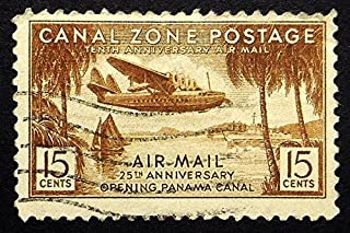 Canal Zone Postage, Aircraft, Tenth Anniversary Air Mail -Handmade Framed Postage Stamp Art 21938AM