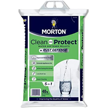 Morton Salt Morton F124700000g Clean & Protect/Rust Defense Water Softener Pellets, 40 Lb, Plain