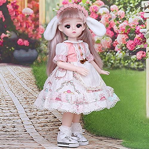 BESTWALED Lolita Moda Figuras 11.8' Princesa Muñeca Niña Jugar A La Casa Muñeca Vestirse Muñeca De Trapo Recoger Figuras De Juguete Niño Adornos Creatividad Año Nuevo Regalo,D