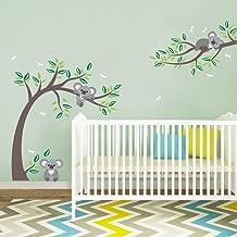decalmile Koala and Tree Branch Wall Decals Dragonflies Koala Bear Kids Wall Stickers Baby Nursery Childrens Bedroom Wall ...