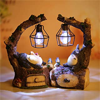 Kimkoala Totoro Figure, Japanese Anime My Neighbor Totoro Spirit Away Figures Totoro Figurine with Night Lamp Light Statue Models Dolls for Home Garden Decoration Children Gift (2Pcs Pack)