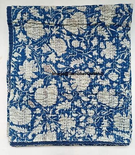 Sambhav Quilt Hub 激安卸販売新品 中古 Blue Handblock Handmade Cotton Print Ka Floral