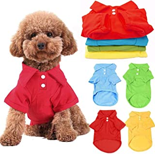 """DOGGYZSTYLE 4 Pack Solid Dog Polo Tshirts Shirts Pet Puppy T-Shirt Clothes Outfit Apparel Coats Tops (XL Chest 19.68""""-Leng..."""