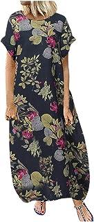 Zrom Women Dress Fashion,Women Plus Size O-Neck Floral Print Vintage Short Sleeve Loose Long Dress