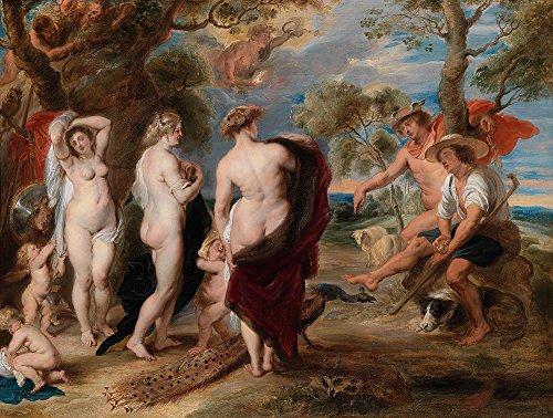 Spiffing Prints Peter Paul Rubens - The Judgment of Paris - Extra Large - Matte - Brown Frame