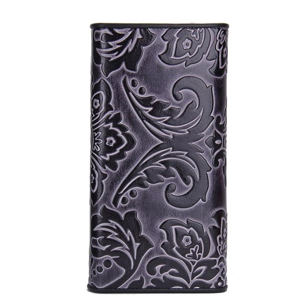 平日俳優窓を洗う女性用ウォレット 軽くて実用的、持ち運びが簡単な女性用長財布、ロングエンボスクラッチ、30倍、多機能財布、赤、黒、スタイリッシュな個性 一般的な携帯財布 (色 : ブラック)