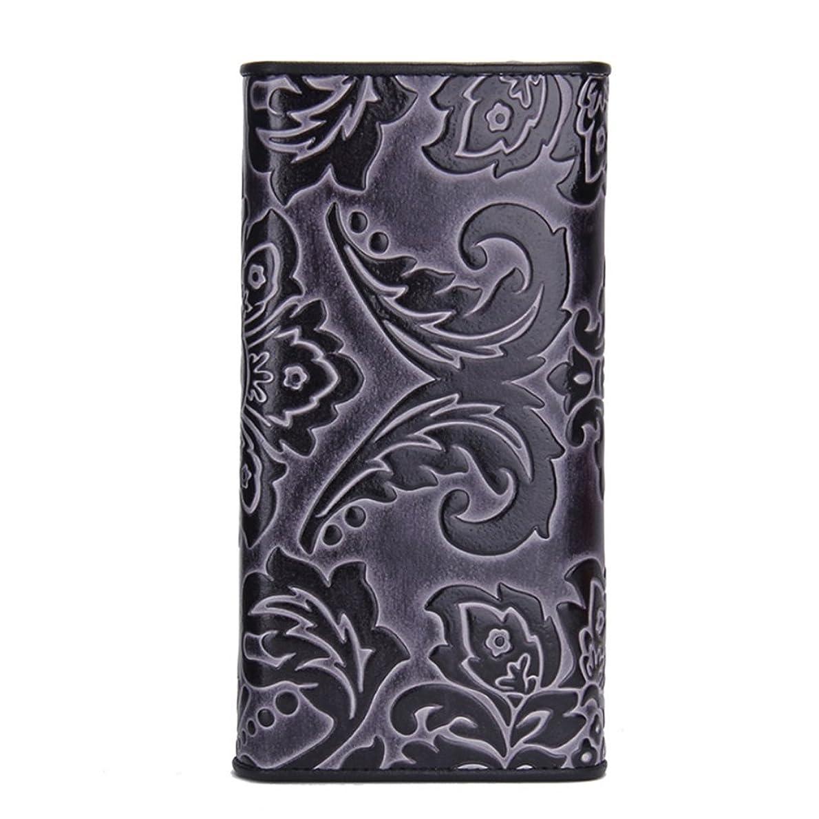 概念正規化質量女性用ウォレット 軽くて実用的、持ち運びが簡単な女性用長財布、ロングエンボスクラッチ、30倍、多機能財布、赤、黒、スタイリッシュな個性 一般的な携帯財布 (色 : ブラック)