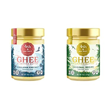 Himalayan Pink Salt Grass-Fed Ghee Butter by 4th & Heart, 9 Ounce & Original Grass-Fed Ghee Butter by 4th & Heart, 9 Ounce, Keto, Pasture Raised, Non-GMO, Lactose Free, Certified Paleo