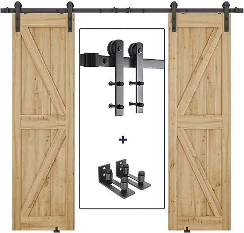 new arrival 8ft Heavy Duty Double Door Sliding Barn Door Hardware Kit online + 2X Sliding Barn Door Bottom Adjustable online Floor Guide Roller sale