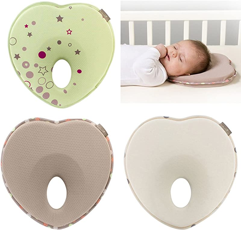 Hicollie Baby Pillow For Newborn Infant 0 12months Flat Head Syndrome Prevention 3D Memory Foam Can Support Head Neck Pillow Head Shaping Pillow Heart Shaped White