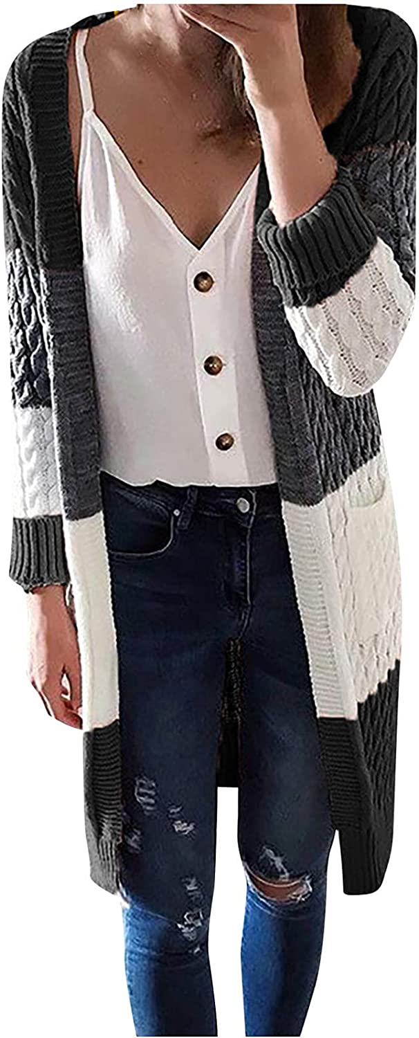 Women's Long Sleeve Knitted Cardigan Color Block Stitching Pocket Sweater Coats Autumn Warm Loose Outwear