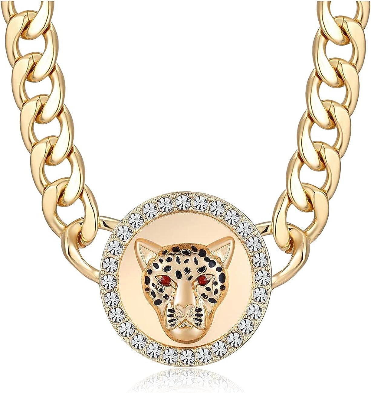 Women's Black Print Gold Leopard Head Necklace Statement Hip Hop Chunky Choker Chain Necklaces
