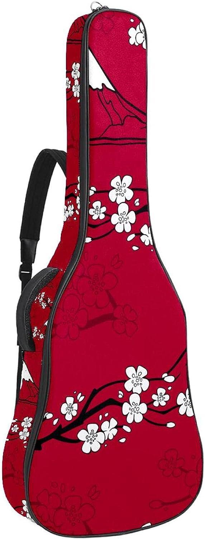 Bolsa de guitarra acústica acolchada gruesa impermeable doble correa de hombro ajustable para guitarra, bolsa de concierto japonesa Sakura Fujisan patrón rojo 42,8 x 42,8 x 11,9 cm