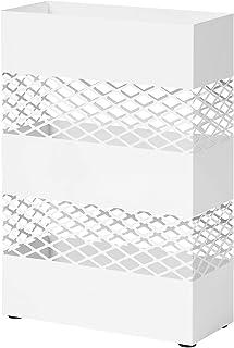 SONGMICS Paraplyhållare av metall, paraplystativ, 28 x 12 x 41 cm, rektangulär med vattenbricka, genombruten design, vit L...