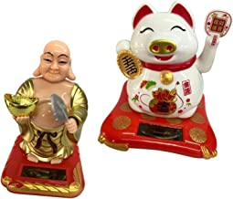 Estátua do Buda da sorte com energia solar, painel do carro, enfeites e brinquedos para crianças