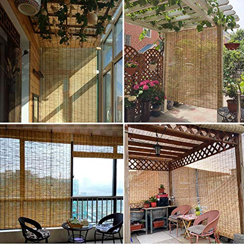 Bambusrollo Raffrollo Sonnenschutz Schilfrollos, lichtdurchlässig Seitenzugrollo für Balkon aussen küche,wetterfest,Windschutz