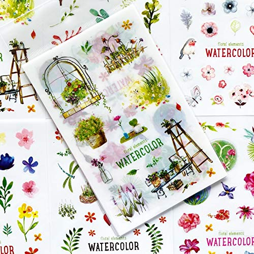 Blour Aquarel-stickers, schattige groene planten, stickers van PVC, decoratief album, dagboek, etikett, hand, decoratie, kinderen, cadeau, 6 vellen