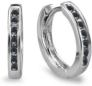 Best black diamond hoop earrings white gold Reviews