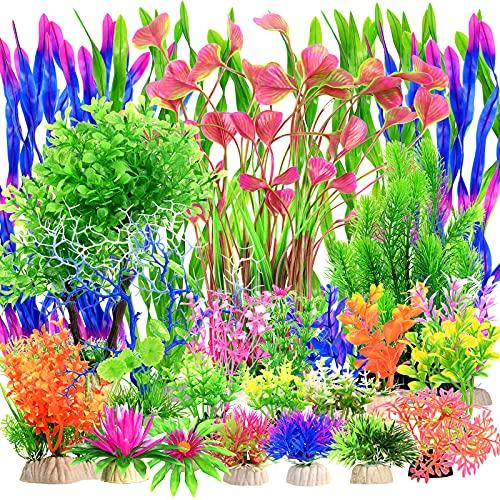 36 pezzi di plastica piante acquatiche decorazione acquario piante di plastica piccole piante subacquee vivide decorazioni grandi piante d acquario artificiale piante acquatiche per acquari