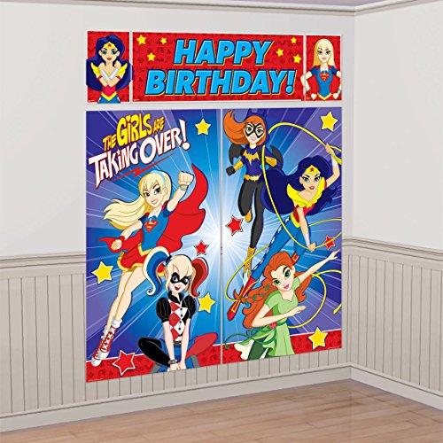 amscan Dc Super Hero Girls Wonder Woman Supergirl Batgirl Party Scene Setter Decoration