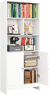 Étagère Bibliothèque Livres Armoire de Salon Meuble Bureau avec 2 Portes 4 Compartiments Blanc 70x29.5x167cm