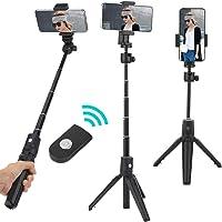 Tripé para bastão de selfie, 2 em 1 Suporte profissional multifuncional portátil para bastão de selfie de Bluetooth para...