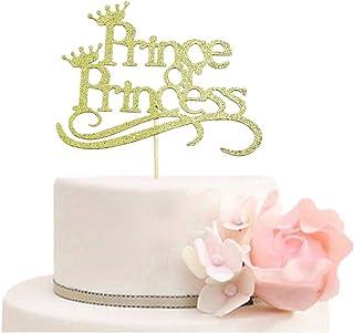 غطاء كعكة الأمير أو الأميرة - أغطية كعكة للكشف عن الجنس - زينة حفلات استقبال المولود للأولاد أو البنات ذهبي لامع