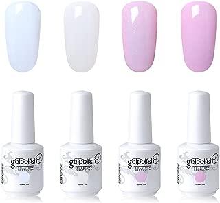 Elite99 Gel Nail Polish Set Soak Off UV LED Nail Art Kit 4 Colors with 20pcs Nail Polilsh Remover Wraps as Gift