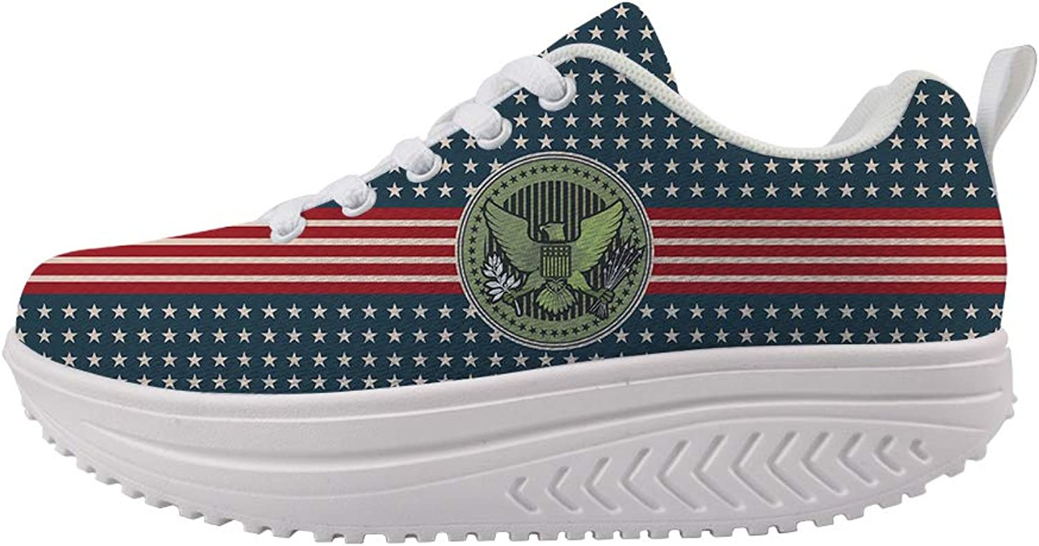 Owaheson Swing Platform Toning Fitness Casual Walking shoes Wedge Sneaker Women Stars and Stripes Bald Eagle Seal